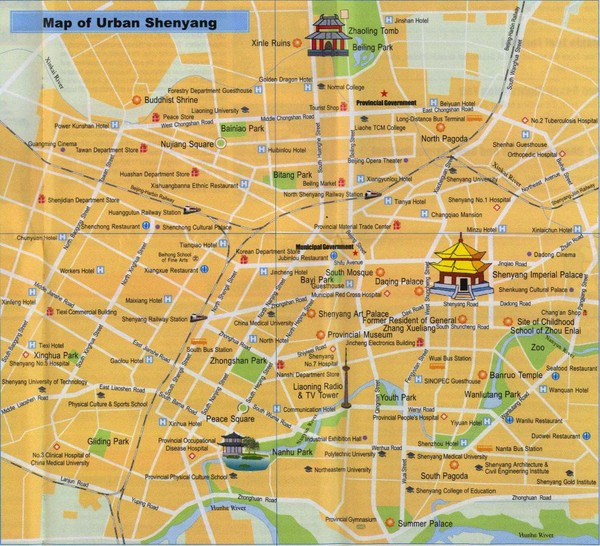 Shenyang China Tourist Map