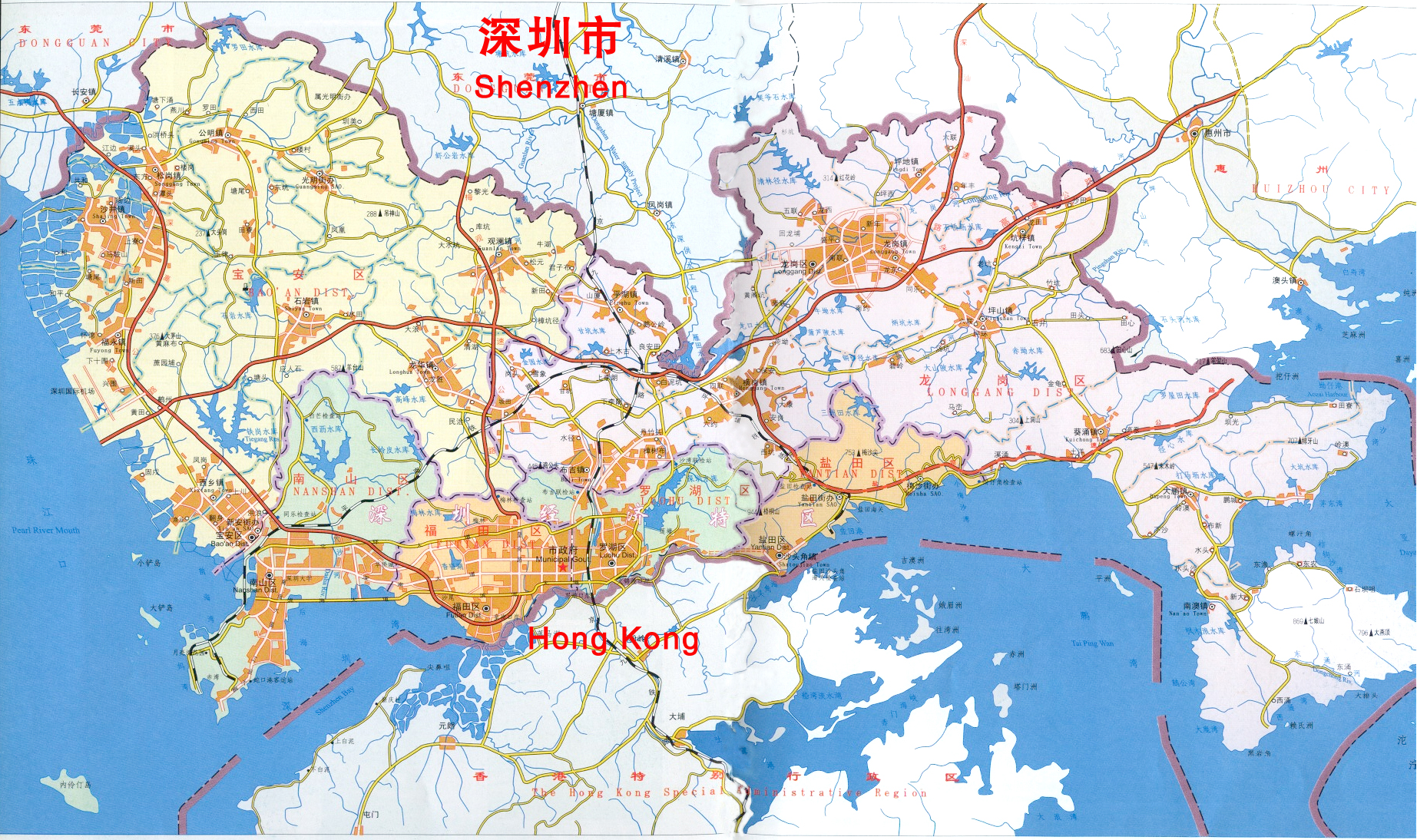 Shenzhen district map shenzhen china mappery gumiabroncs Image collections