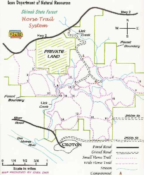 Shimek State Forest Horse Trail Map