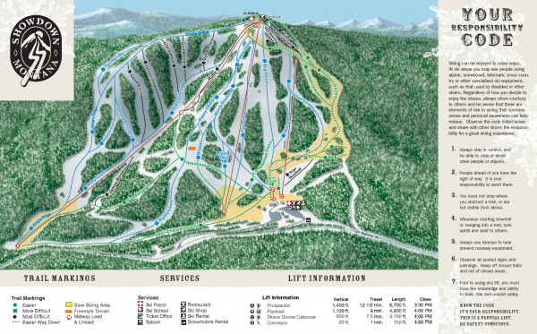 Showdown Ski Trail Map