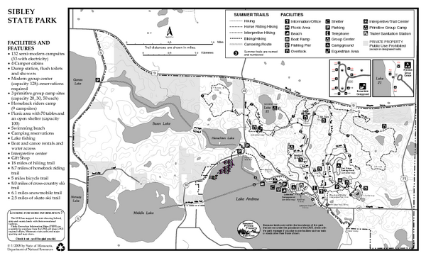 Sibley State Park Summer Map