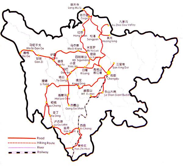 Sichuan Tourist Map Sichuan China Mappery - Haicheng map