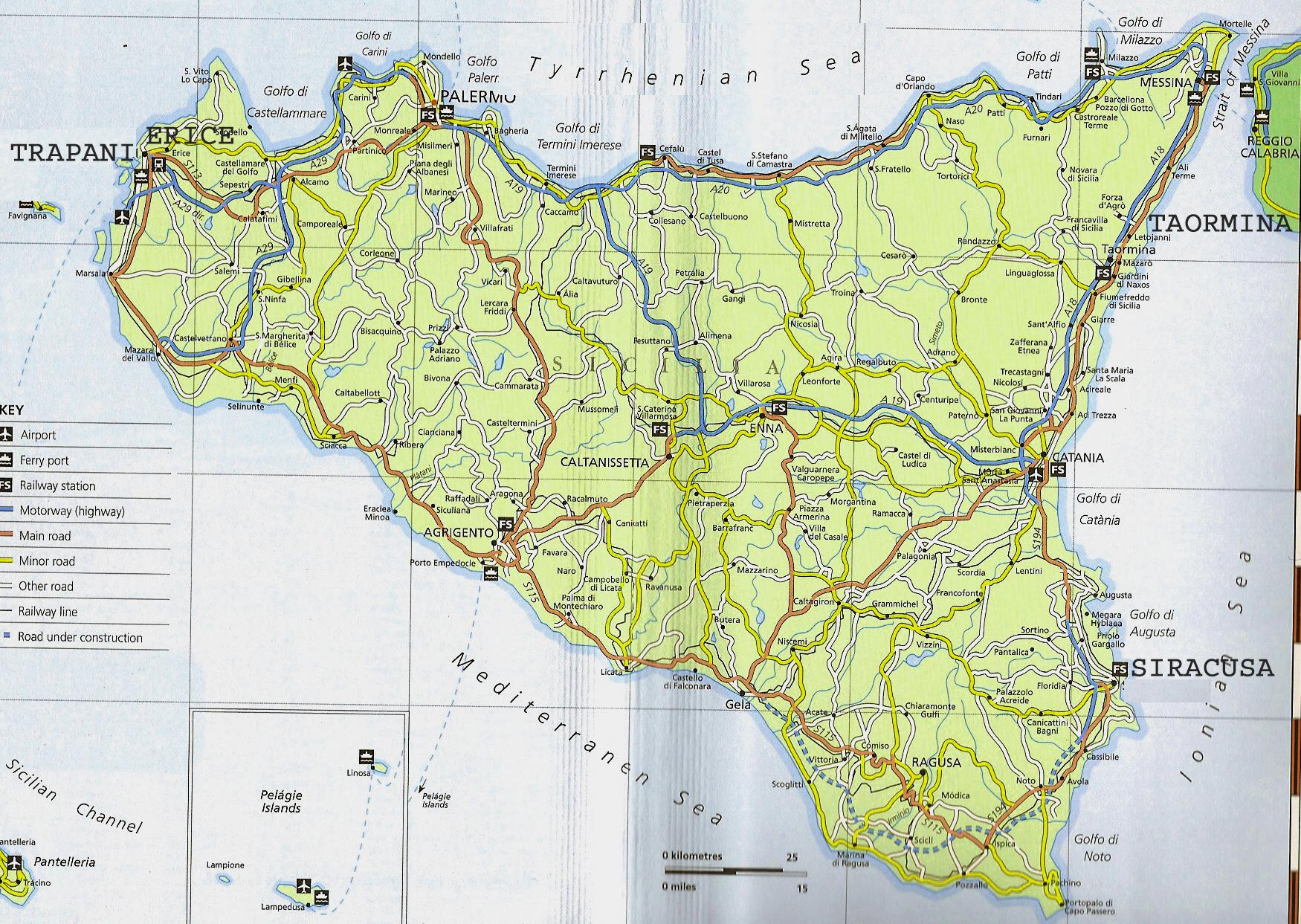 Sicily Tourist Map Sicily mappery