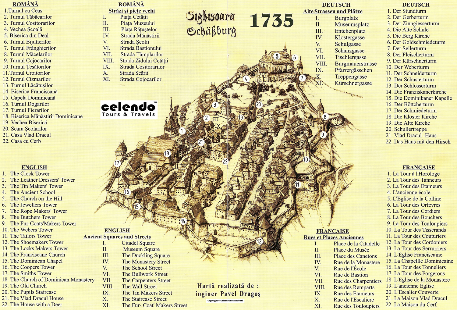 Sighisoara Town Map 1735 Sighisoara Romania Mappery