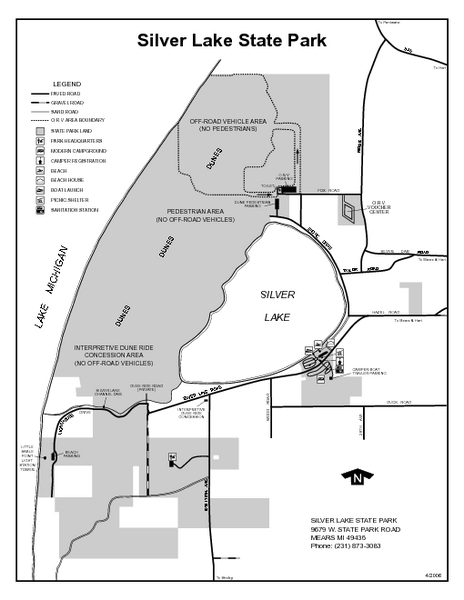 Silver Lake State Park, Michigan Site Map