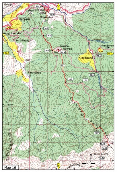 Simtokha-Talakha trail near Thimphu Map