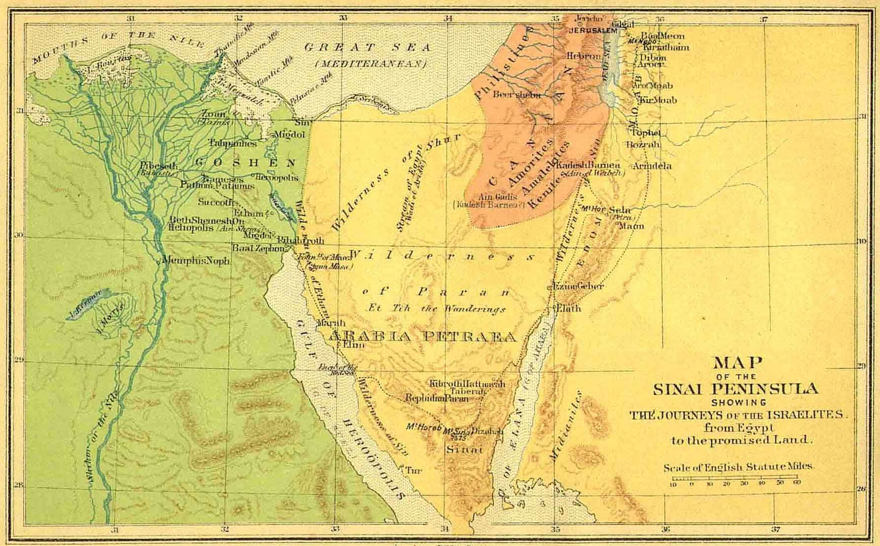 Sinai Peninsula Map - Journey of Israelites from Egypt to Promised ...