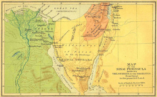 Sinai Peninsula Map - Journey of Israelites from Egypt to ...