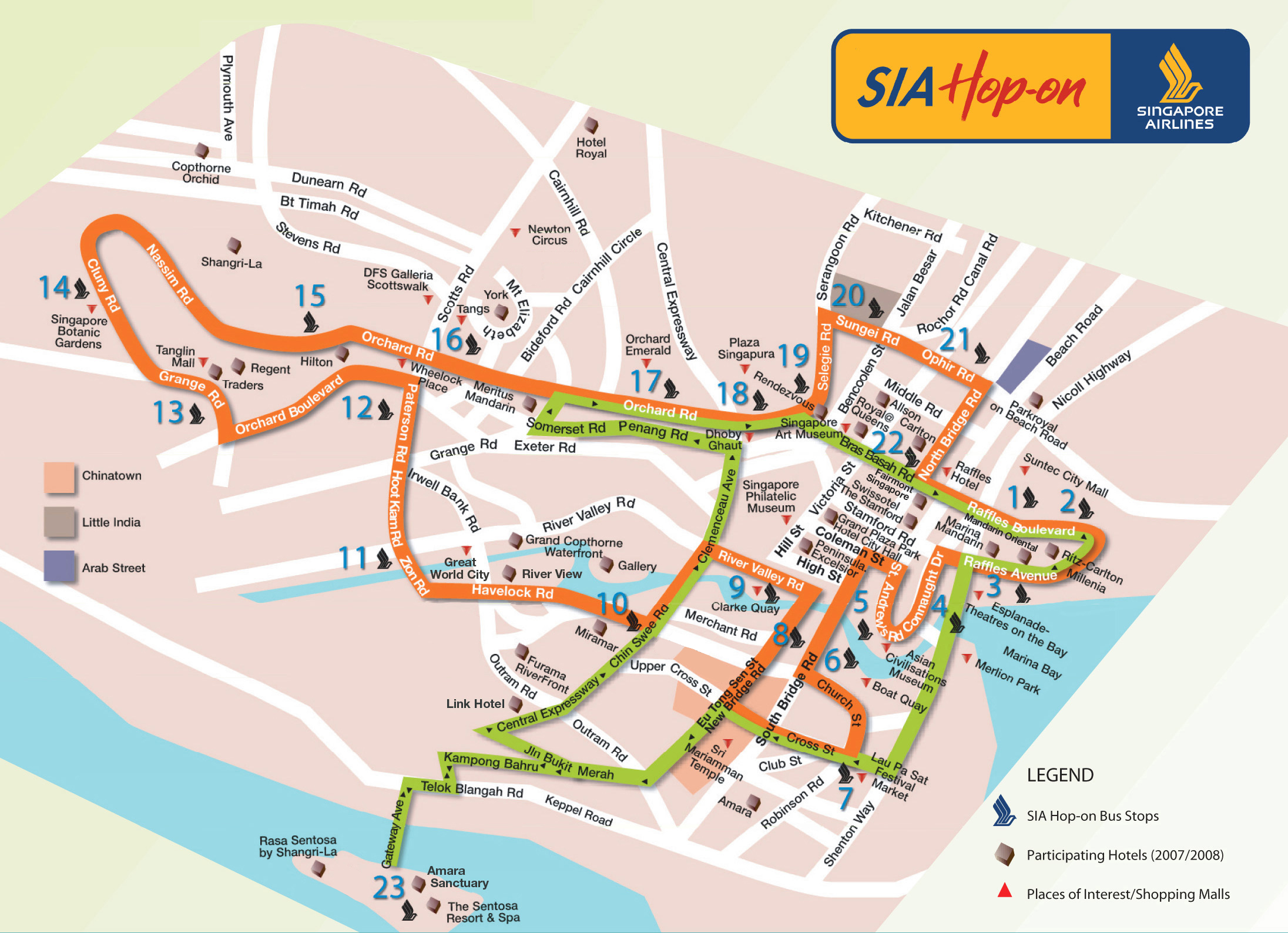 Singapore Airlines Hop On Bus Route Map - Singapore • mappery