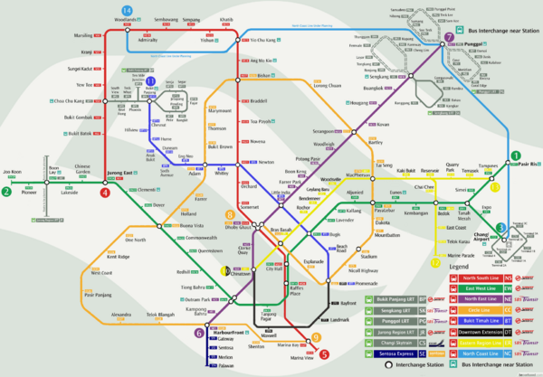 Singapore Mrt Map Singapore Mappery