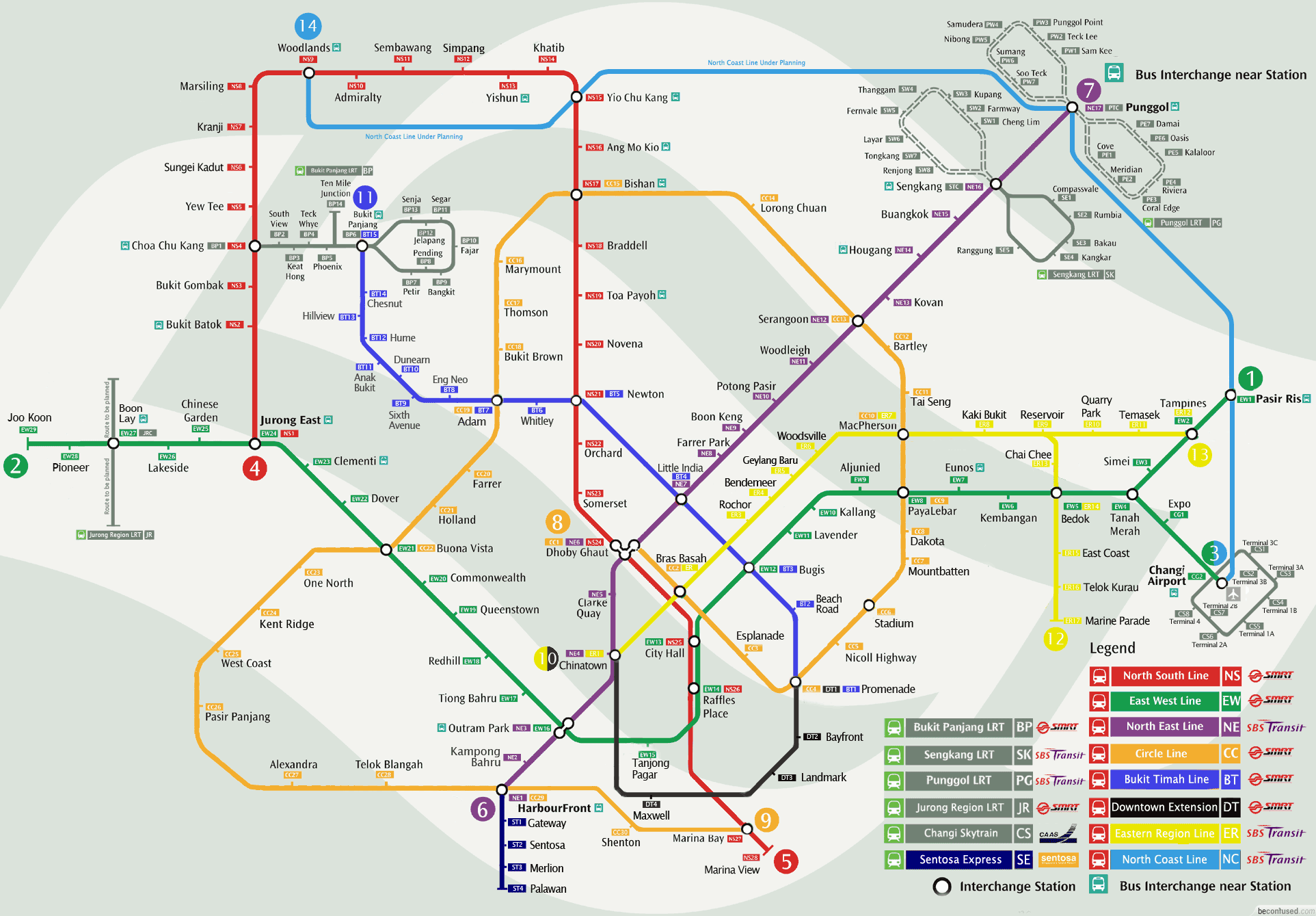 Singapore Mrt Map Large Gelang
