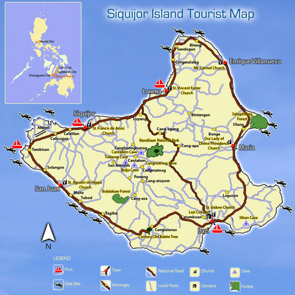 Siquijor Island Tourist Map Siquijor mappery – Philippines Tourist Attractions Map