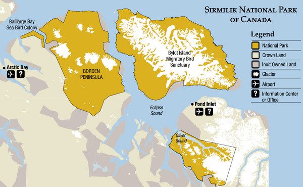 Sirmilik National Park Map - Pond Inlet Canada • mappery