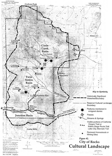 Sites of Cultural Importance, City of Rocks Area, ID Map
