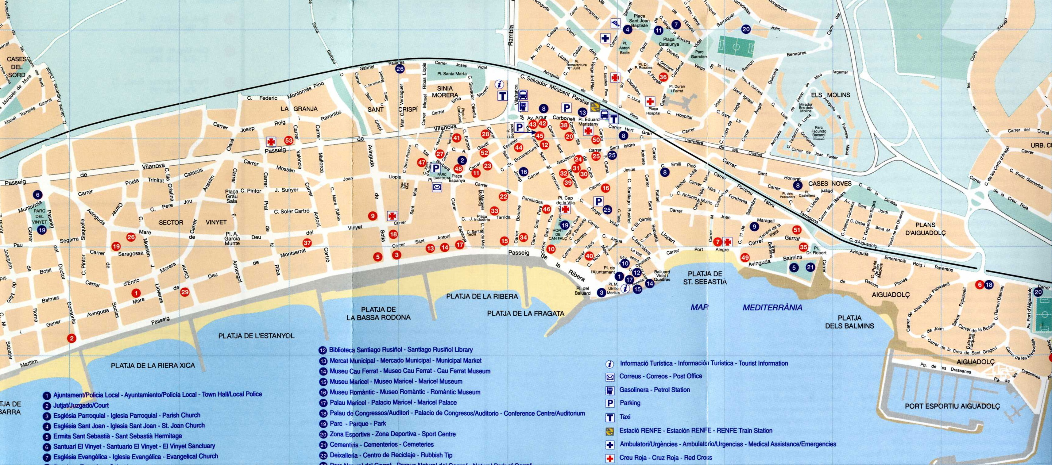 Sitges Tourist Map Sitges Spain mappery – Barcelona Spain Tourist Map