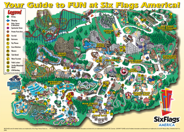 six flags. Official Park Map of Six Flags