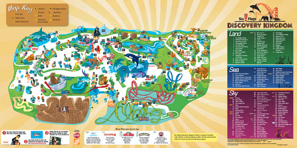 Six Flags Discovery Kingdom Park Map - 2001 Marine World Pky Vallejo ...