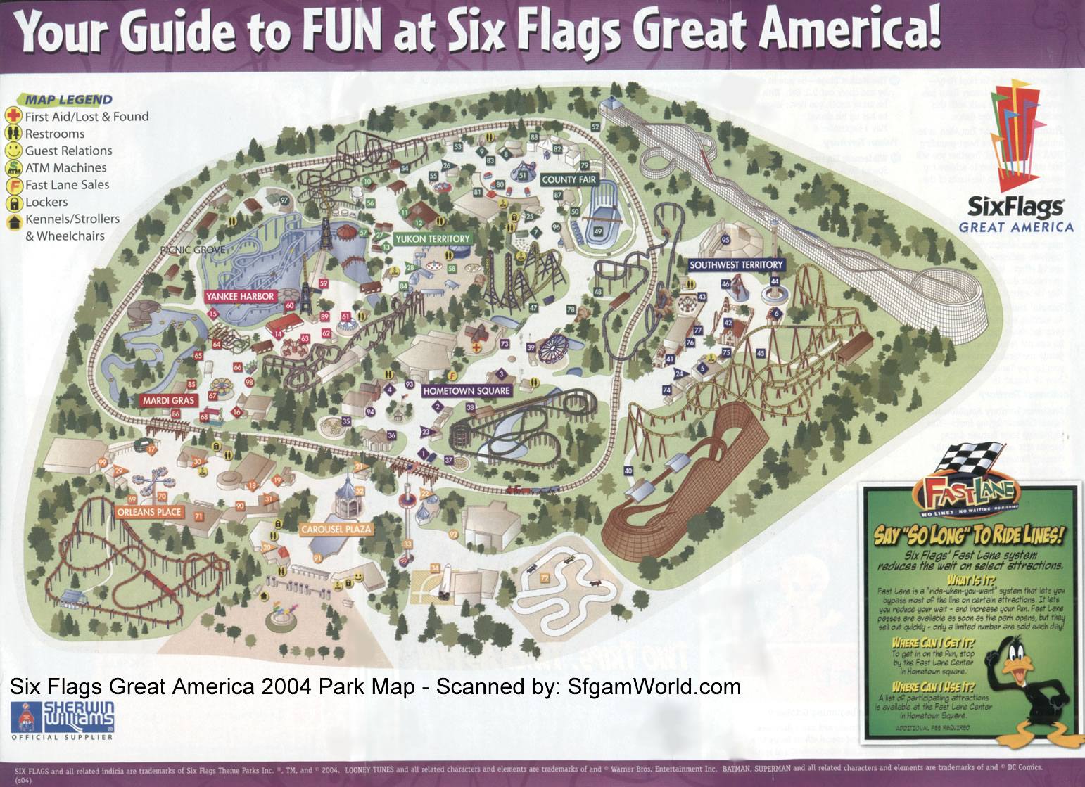 Six Flags Great America Map Six Flags Great America mappery