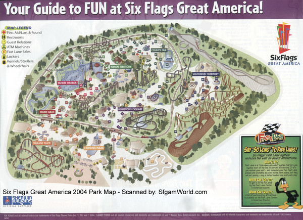 Six Flags Great America Map
