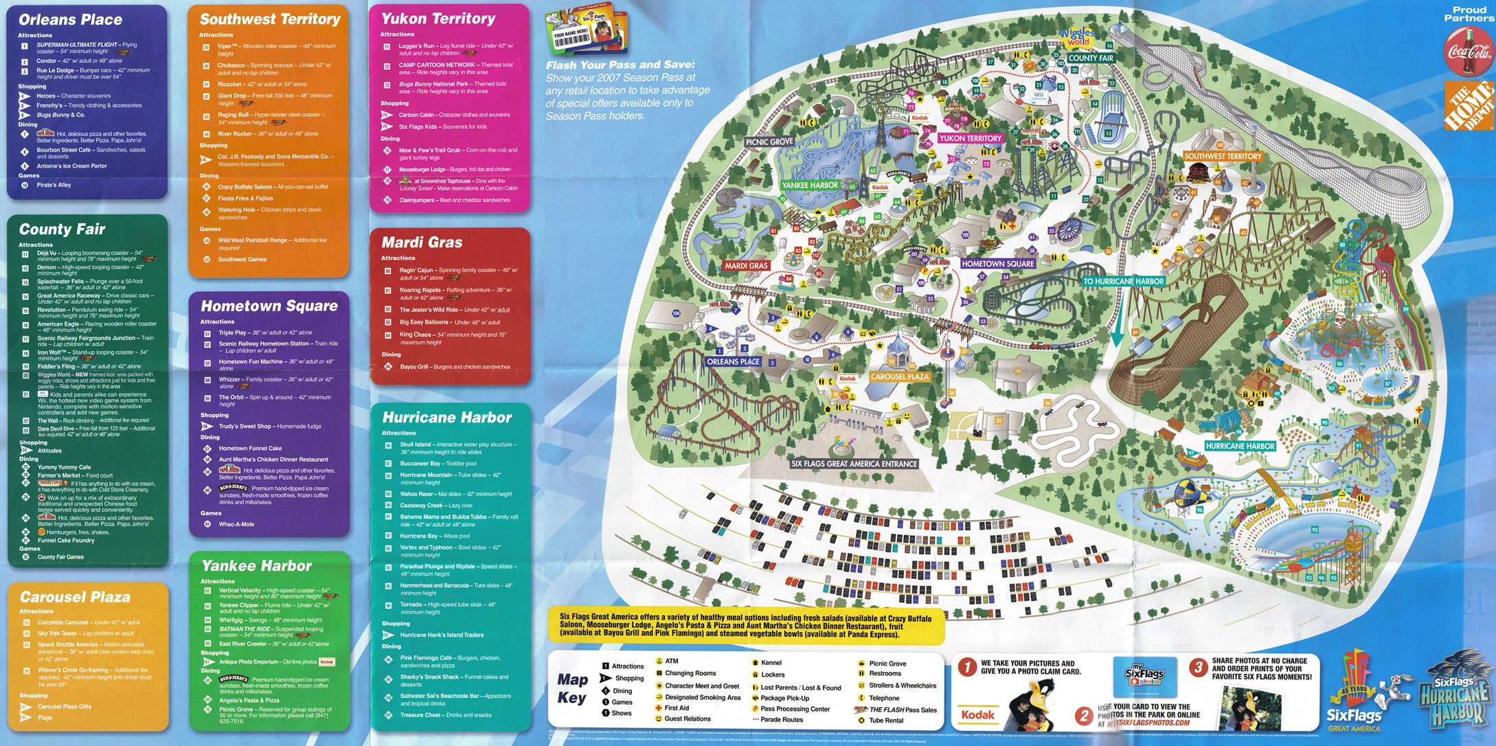 Six Flags Great America Theme Park Map Gurnee IL mappery