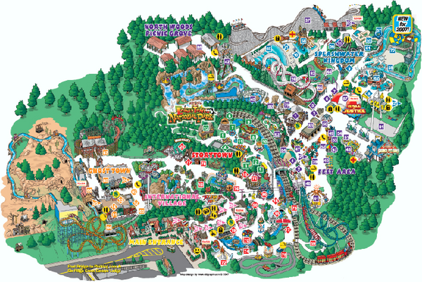 Six Flags Great Escape Theme Park Map - 1172 State Route 9 ...