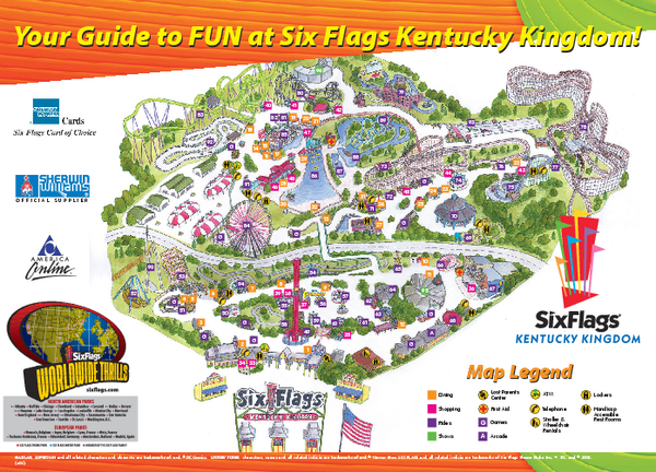 Six Flags Kentucky Kingdom Theme Park Map 937 Phillips Lane