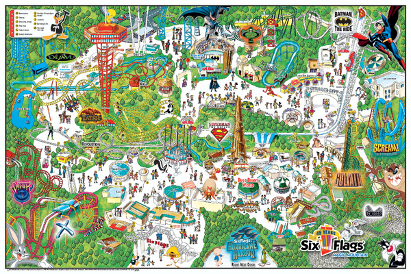 Six Flags Magic Mountain Theme Park Map - 26101 Magic ... on brasstown bald mountain map, crotched mountain map, great america map, schuss mountain map, knotts berry farm map, universal studios map, six flags map, knottsberry farm map, legoland map, steele peak shooting area map, cedar point map, boyne mountain map, dream catcher map, sunset strip map, robin hood map, disneyland map, knott's map, loon mountain map, mount snow map, new river state park map,
