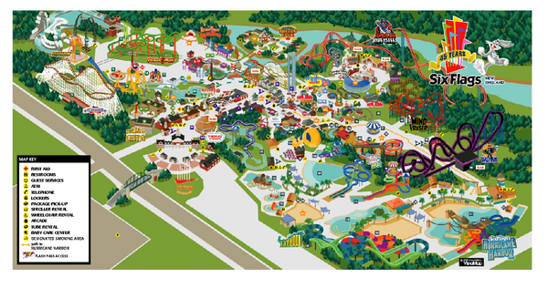 Six Flags New England Theme Park Map