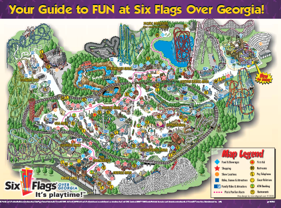 Show A Map Of Georgia.Six Flags Over Georgia Theme Park Map 275 Riverside Parkway Mappery