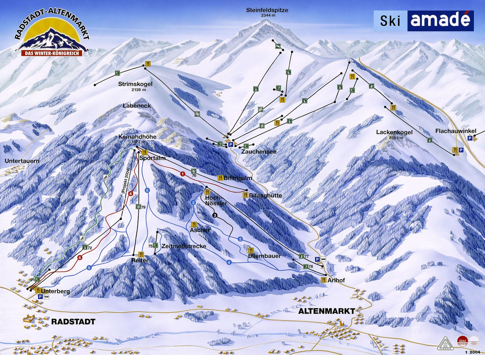 Ski Amade Map - Radstadte Austria • mappery