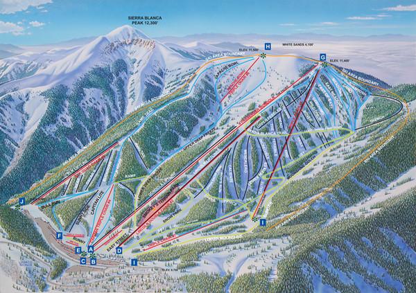 Ski In New Mexico Map.Ski Apache Ski Trail Map Alto New Mexico United States Mappery