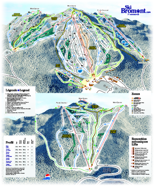 Ski Bromont Ski Trail Map - Bromont Quebec Canada • mappery on