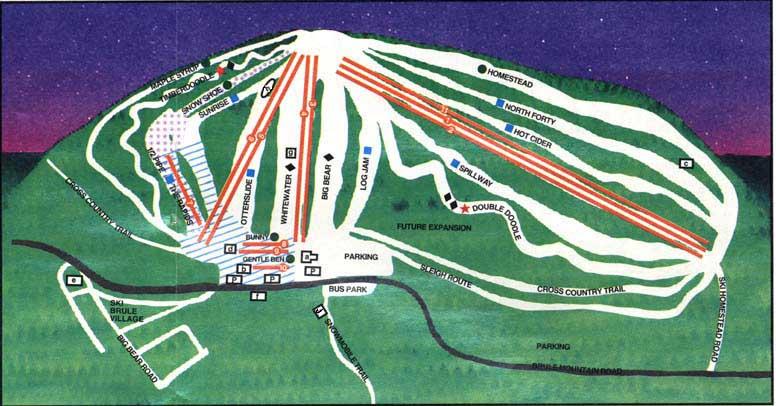 Ski In Michigan Map.Ski Brule Ski Trail Map Iron River Michigan United States Mappery