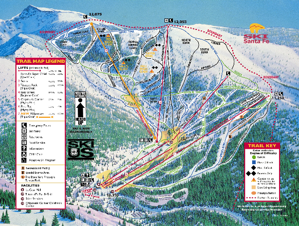 Ski In New Mexico Map.Ski Santa Fe Resort Ski Trail Map New Mexico United States Mappery