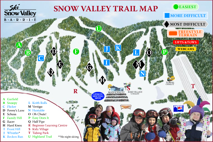 Ski Snow Valley Barrie Ski Trail Map - Barrie Ontario Canada • mappery