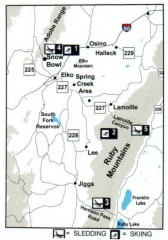 Skiing and Sledding in Elko County, Nevada Map
