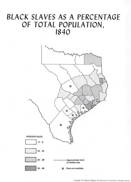 Slave Population in 1840 Texas Map