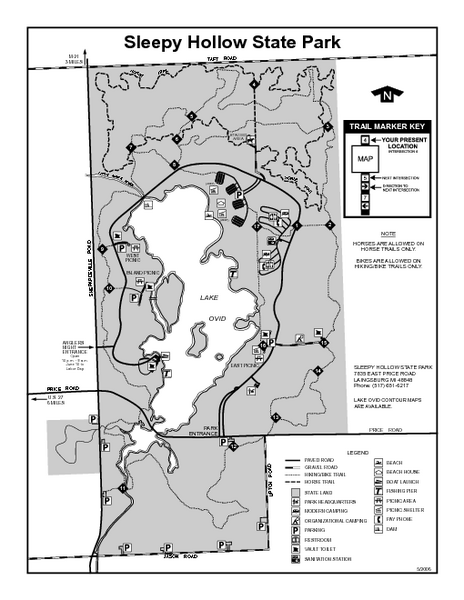 Sleepy Hollow State Park, Michigan Site Map