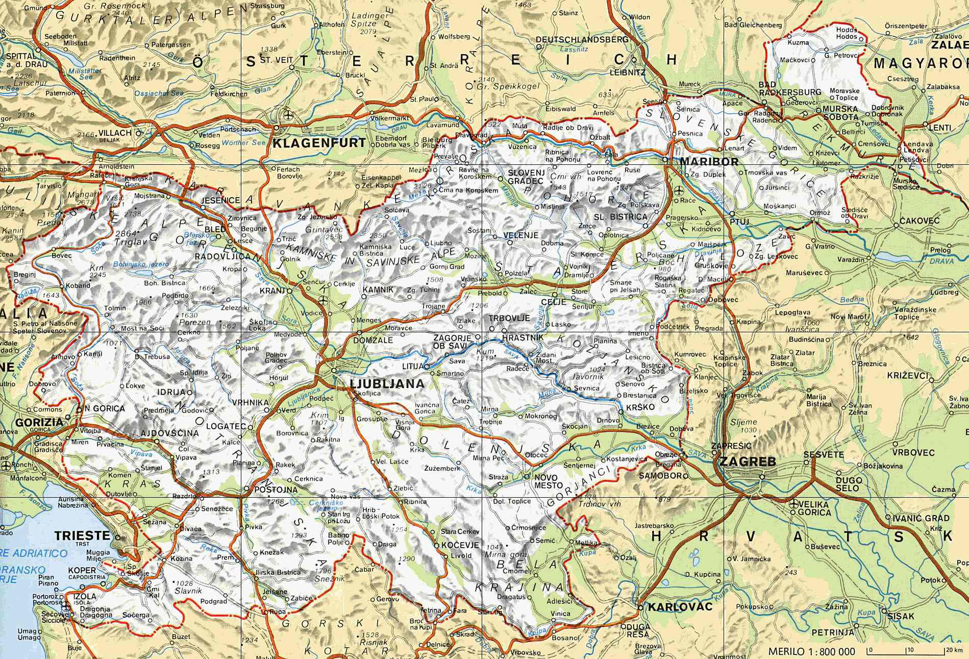 Slovenia online maps geographical political road railway