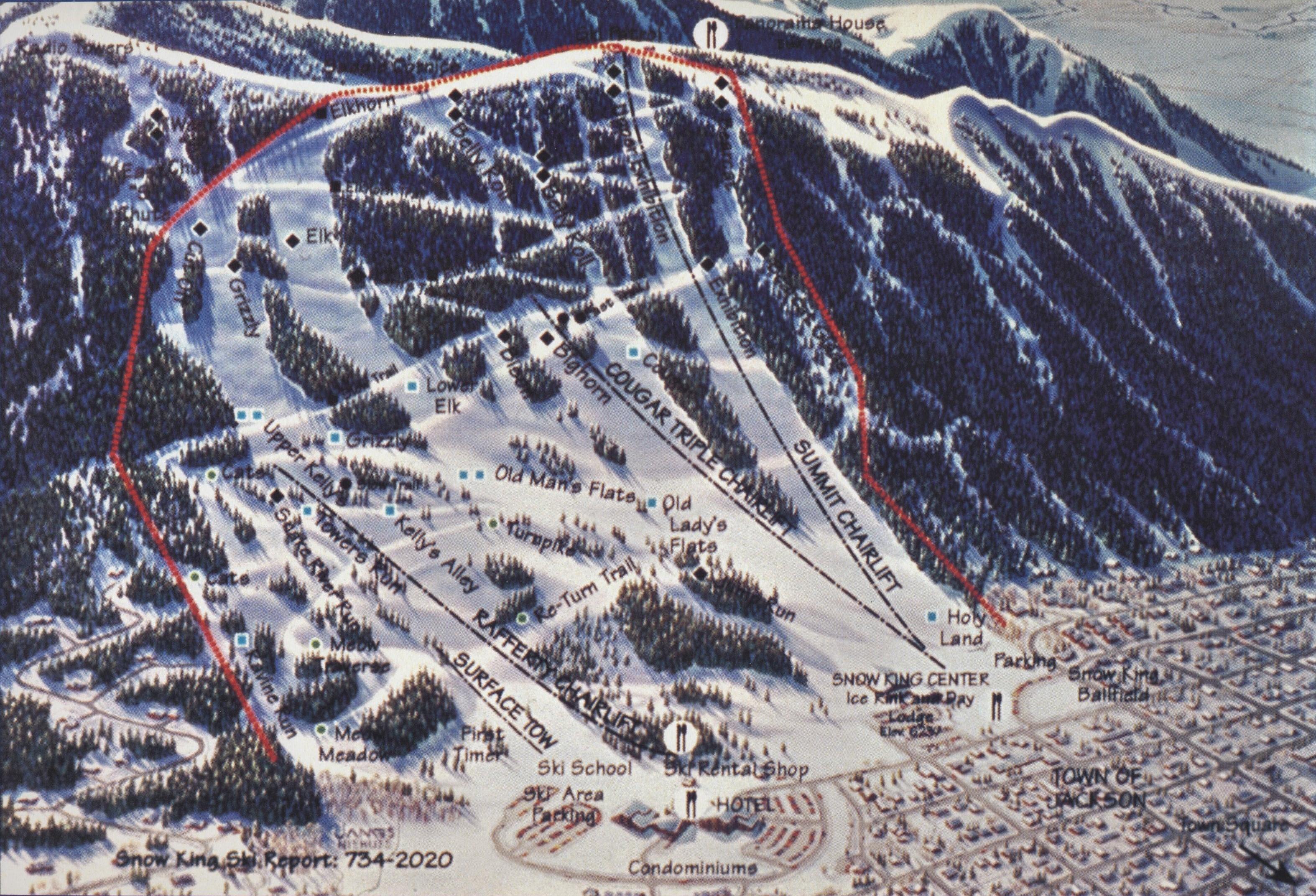 Snow King Ski Area Ski Trail Map - Jackson Wyoming United States ...