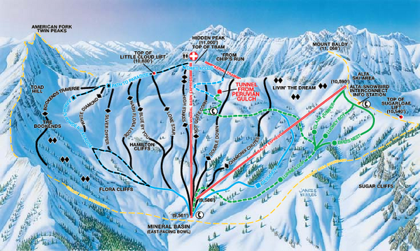 Snowbird Ski and Summer Resort Mineral Basin Ski Trail Map
