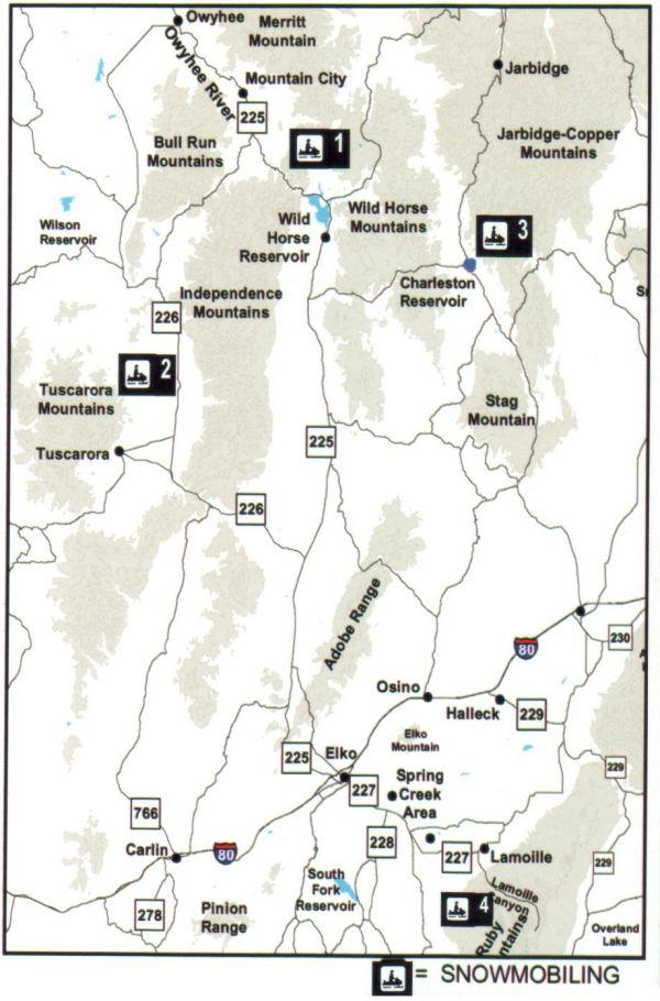 Snowmobiling Map Elko County Nevada  Elko NV  Mappery