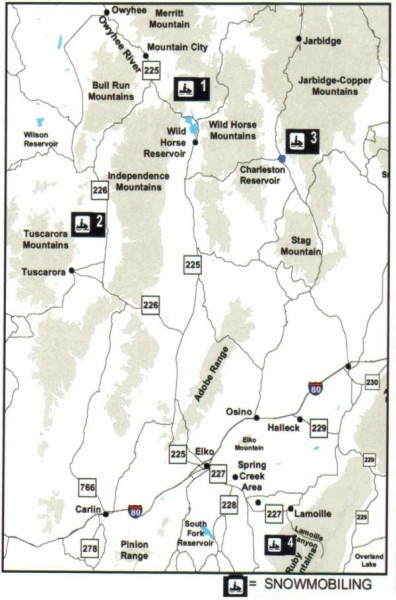 Snowmobiling Map, Elko County, Nevada