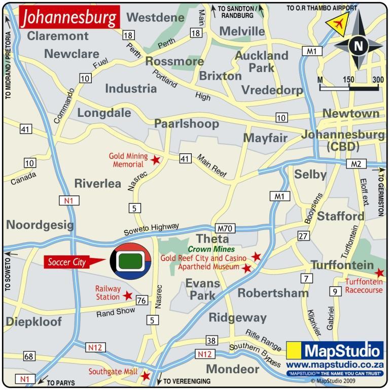 Soccer City Stadium Soweto South Africa Map - soweto south