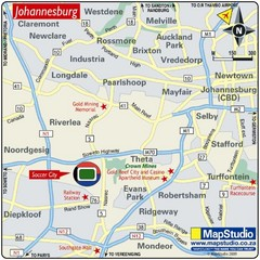 Soccer City Stadium, Soweto, South Africa Map