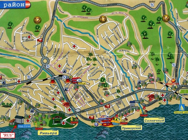 Sochi Tourist Map