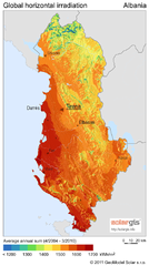 Solar Radiation Map of Albania
