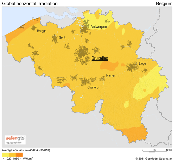 Solar Radiation Map of Belgium Belgium mappery