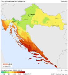 Solar Radiation Map of Croatia