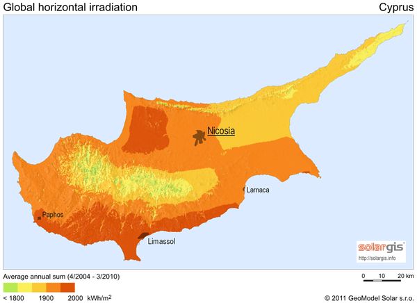 Solar Radiation Map Of Cyprus Croatia Mappery - Cyprus map png